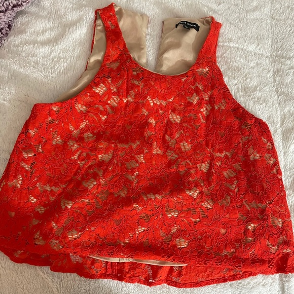 Paris Sunday Orange Floral Lace Blouse Large